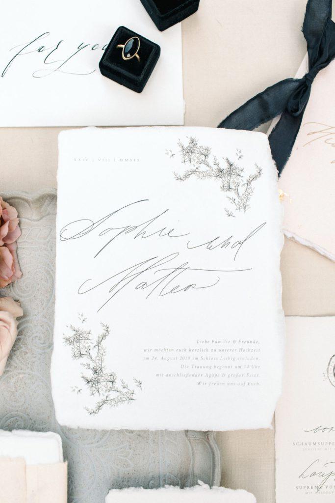 Ewigmein Fine Art Hochzeitsfotografie Hochzeit Papeterie Kalligraphie Pastell modern