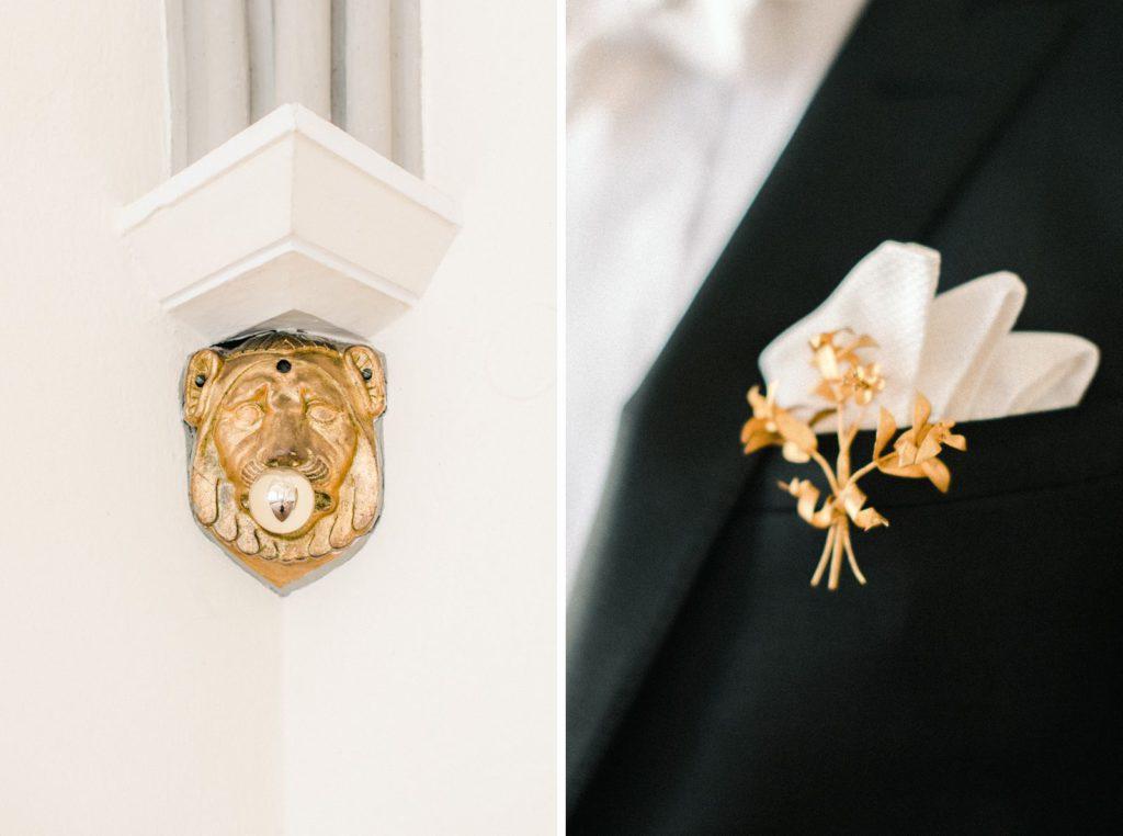 Ewigmein Fine Art Hochzeitsfotografie goldene Brosche Schlosshochzeit München Bodensee Frankfurt
