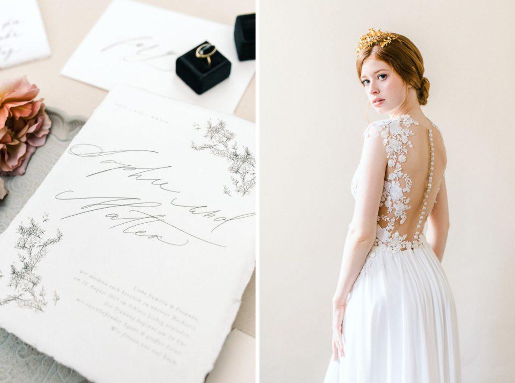 Ewigmein Fine Art Hochzeitsfotografie Hochzeit Daalarna Couture Brautkleid goldene Brautkrone