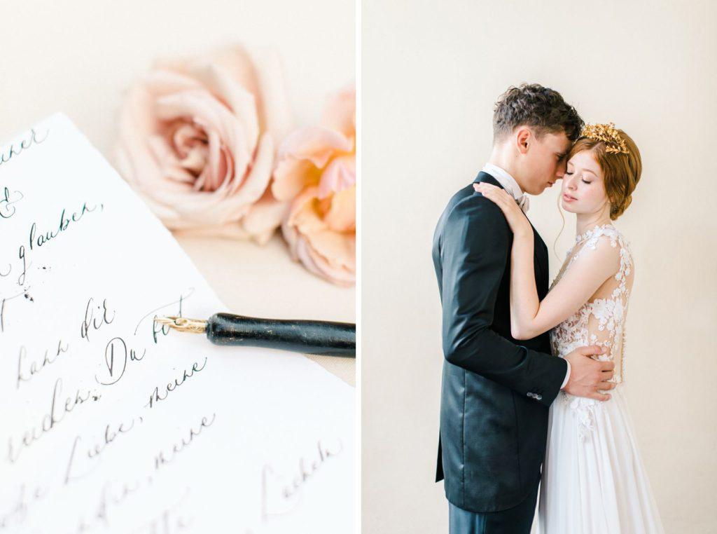 Ewigmein Fine Art Hochzeitsfotografie Hochzeit Daalarna Couture Brautkleid Brautschleier goldene Brautkrone Brautpaarshooting